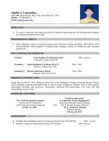 resume format for ojt information technology students should know resume sle for ojt free large images