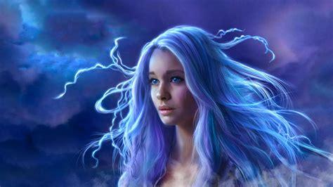 Blue Eyes Blue Hair Fantasy Girl Long Hair Woman Hd