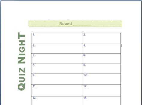 quiz night answer sheets