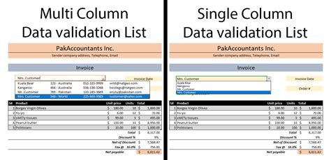 multiple column data validation lists in excel how to
