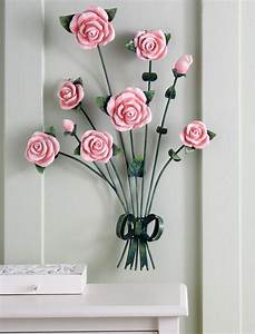 Rose bouquet decorative metal wall art polyresin