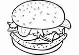 Burger Hamburger Coloring Pages Drawing Cheeseburger Printable Print Food Fries French Sketch Sandwich sketch template