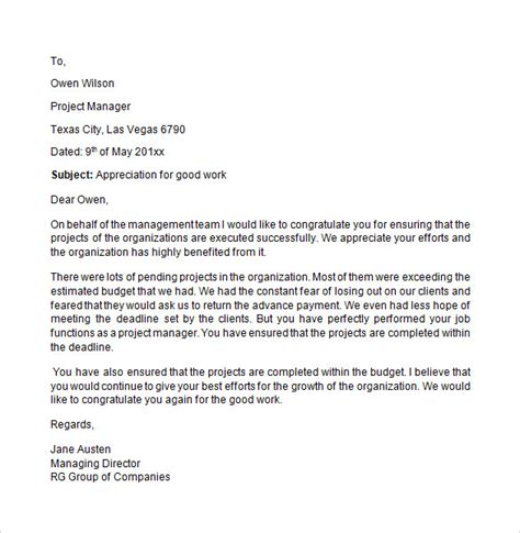 appreciation letter templates sample appreciation letter 8 free documents download in