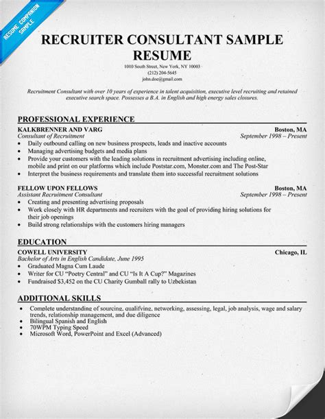 recruitment consultant cv recruiter consultant resume resumecompanion com