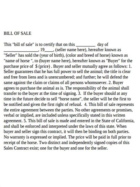 horse bill  sale forms