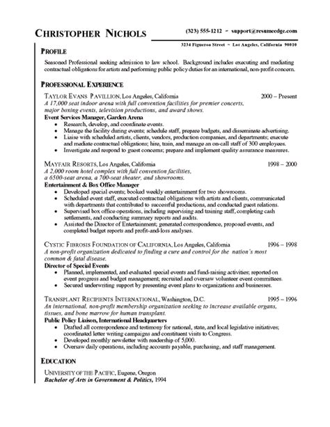 law school admissions resume  sample legal