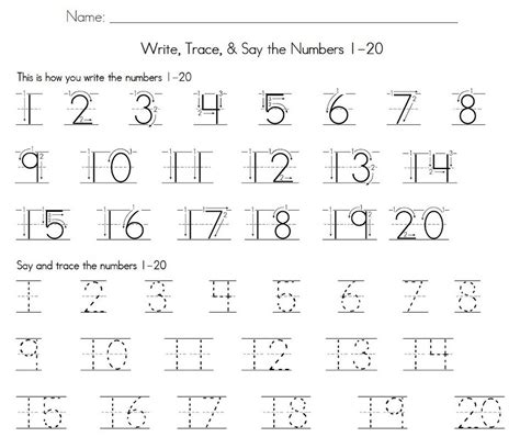 trace number 1 20 worksheet learning printable