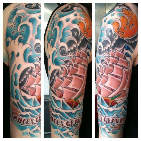 irish street tattoo  school ship sailor jerry style