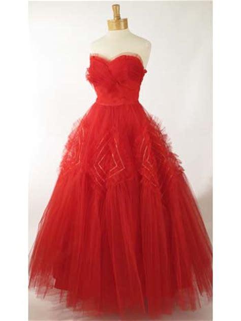 vintage dresses  strapless red tulle evening dress