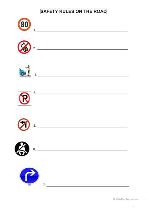 road safety worksheet  esl printable worksheets