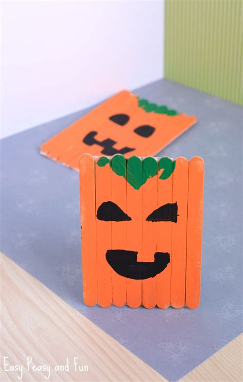 popsicle stick pumpkin craft craft easy 198 | Popsicle Stick Pumpkin Craft for Kids