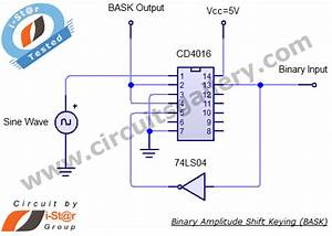 Binary Amplitude Shift Keying  Bask  Or On Off Keying  Ook  Practical Circuit Using Cd 4016