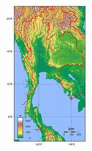 Detailed topographical map of Thailand | Thailand | Asia ...