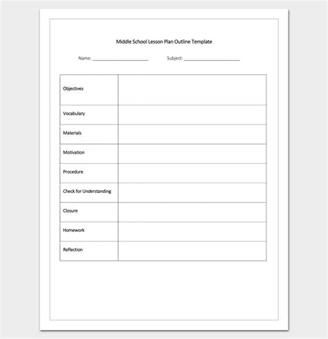 middle school lesson plan template lesson plan outline template 23 exles formats and sles