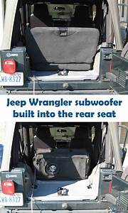 Subwoofer Inside Of A Jeep Wrangler Rear Seat
