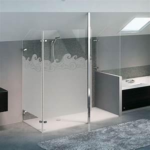 sticker paroi de douche depoli vague tsunami With porte de douche coulissante avec stickers occultant fenetre salle de bain