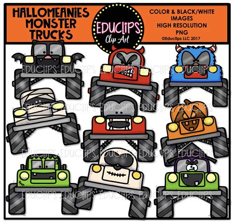 monster trucks video clips creepy halloween clip art big bundle color and b w