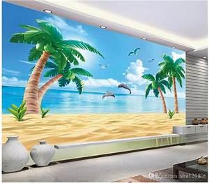 3d Wallpaper Custom Photo Non Woven Mural Hd Beach Coconut ...