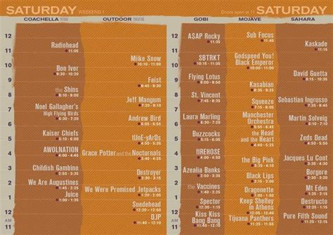 Deck The 2012 Lineup Times by Coachella 2012 Reveals Set Times Consequence Of Sound
