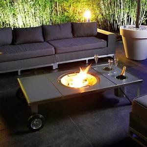 table basse brasero modulable en inox grande dimension With idee de deco jardin exterieur 14 cheminee deco ethanol
