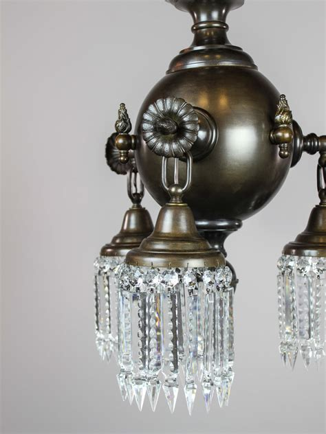 Colonial Combination Gaselectric Crystal Light Fixture