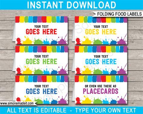 art party food labels place cards paint  art theme