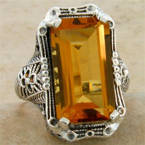 7 ct hydro citrine antique deco design 925 sterling silver ring 549 ebay