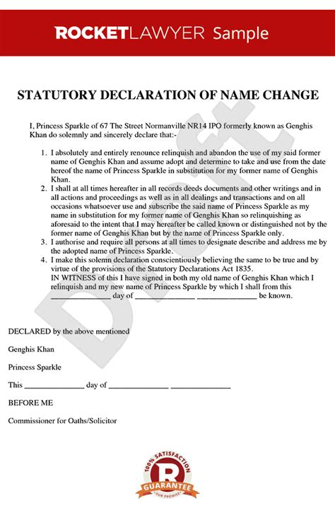 Declaration Document Template by Statutory Declaration Name Change Statutory Declaration