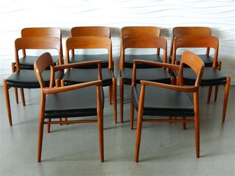 set of 10 niels moller solid teak dining chairs at
