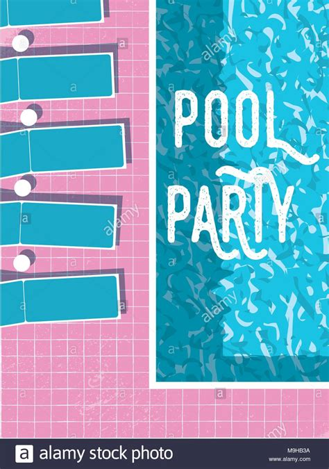 summer pool party invitation poster flyer vector template