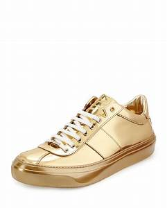 Jimmy choo Portman Mirrored Low-Top Sneakers in Metallic ...