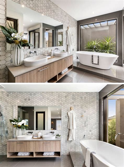 Spa Feel Bathroom by Bathroom Tile Ideas Grey Hexagon Tiles Contemporist