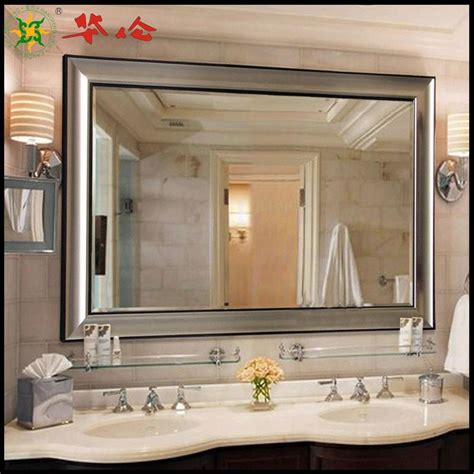 This mirror looks good in this rustic bathroom thanks to the distressed wooden frame that holds the mirror well. 20 Photos Large Cheap Wall Mirrors   Mirror Ideas