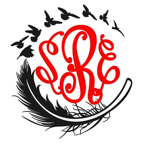 feather monogram svg cuttable designs