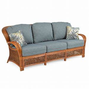 Boca bay rattan sofa leaders casual furniture for Rattan sectional sleeper sofa