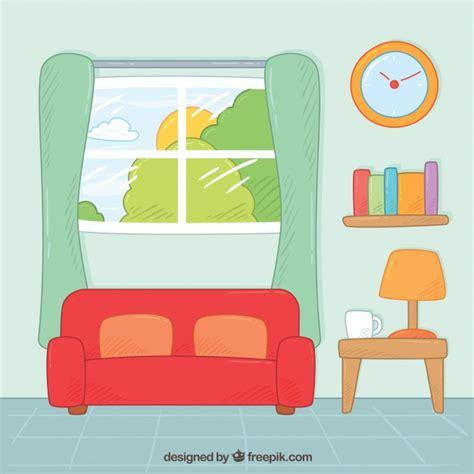 sofa vetorizado living room with hand drawn furniture vector free download
