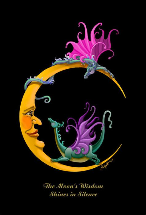 moon dragons dragon crescent moon whimsy baby giclee