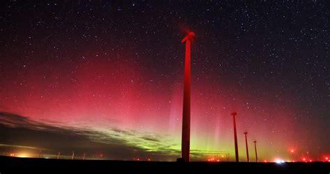 Northern Lights Shine Above Colorado Wind Farm In Rare