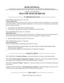 Exle Of Resume Objective For Driver by Truck Driver Resume Exles Resume Template 2017
