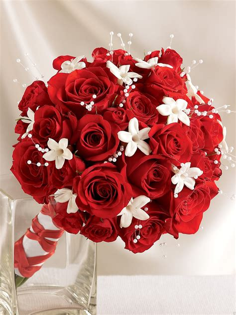 dazzling red rose stephanotis scented bridal bouquet