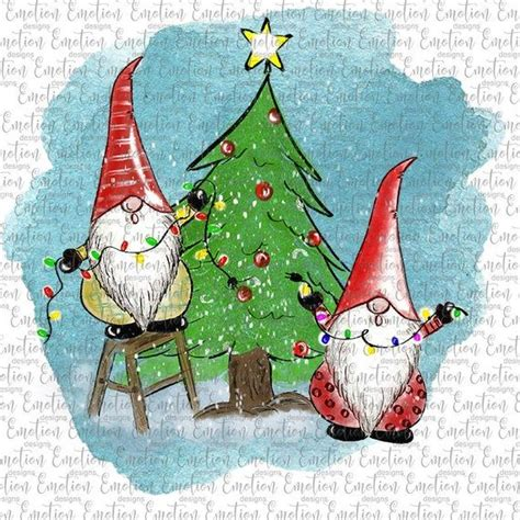 2378 christmas vectors & graphics to download christmas 2378. Christmas Gnomes Decorating Tree 2 clipart, instant ...
