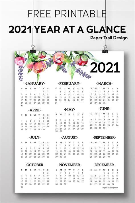 printable   page floral calendar paper trail
