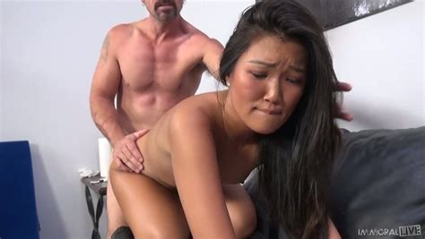 Flat Chested Asian Teen Amy Parks Gets Her Bald Pussy Slammed