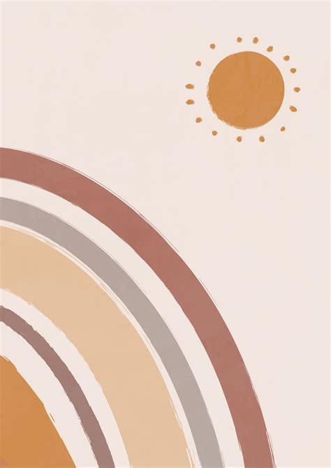 modern abstract moon print boho poster minimalist