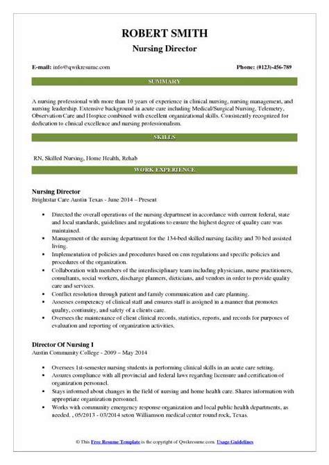 director  nursing resume samples qwikresume
