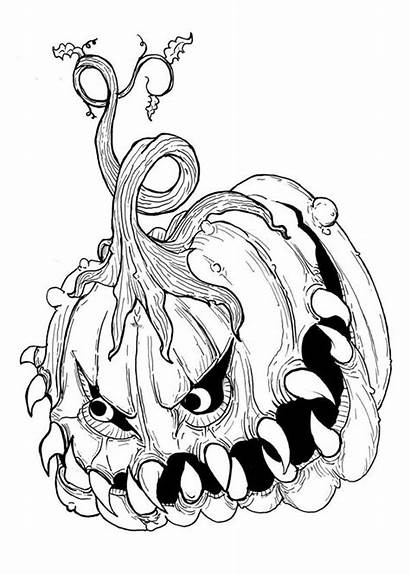 Scary Coloring Halloween Pages Very Printable Getdrawings
