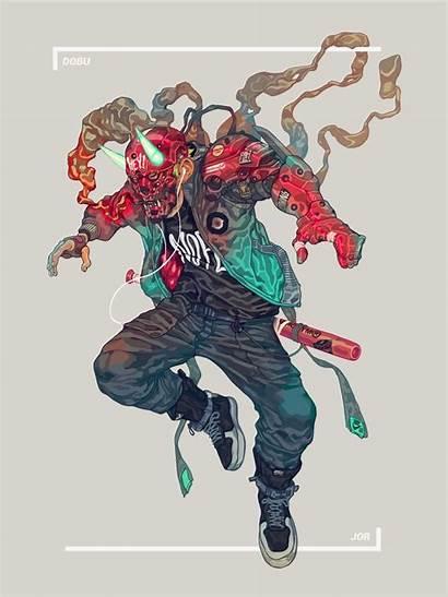 Vigilante Character Cyberpunk Dobu Haishen Samurai Concept