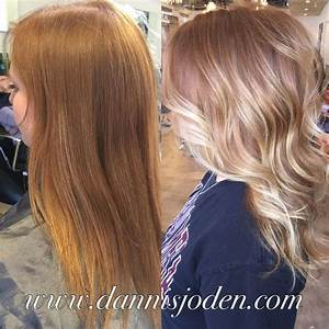 Natural red head with bright platinum balayage. Hair by ...