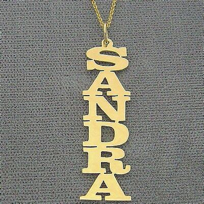 personalized  solid gold vertical  pendant laser