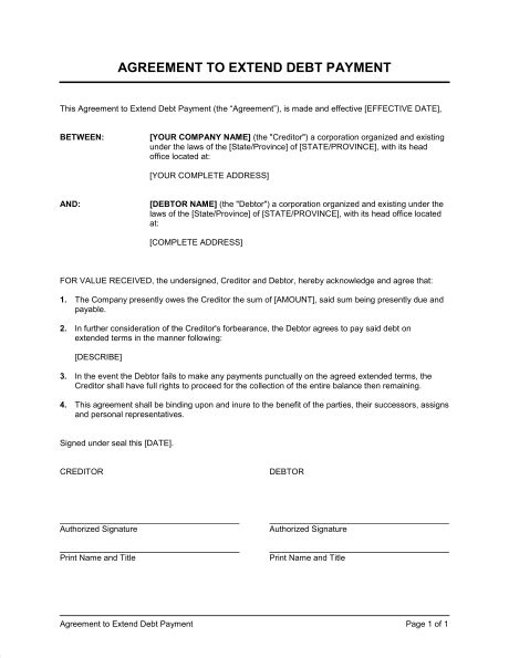 agreement  extend debt payment template sample form